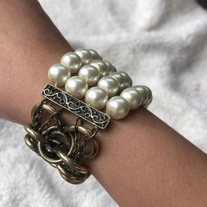 3/$20🌻Brass Chainmail Bracelet With Faux Pearls